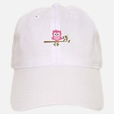 Pink Owl on a Branch Baseball Baseball Baseball Cap