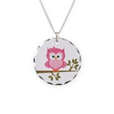Pink Owl on a Branch Necklace