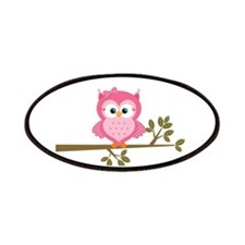 Pink Owl on a Branch Patches