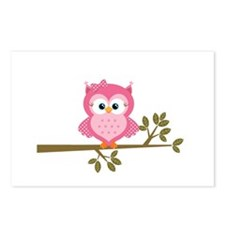 Pink Owl on a Branch Postcards (Package of 8)