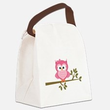 Pink Owl on a Branch Canvas Lunch Bag