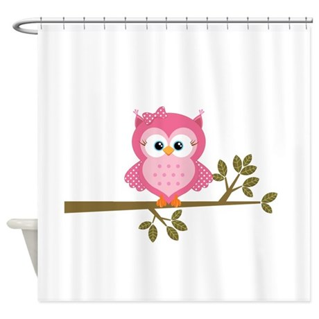 Pink Owl On A Branch Shower Curtain