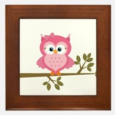 Pink Owl on a Branch Framed Tile