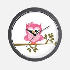 Pink Owl on a Branch Wall Clock