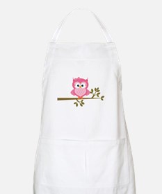 Pink Owl on a Branch Apron