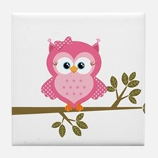 Pink Owl on a Branch Tile Coaster