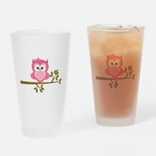 Pink Owl on a Branch Drinking Glass