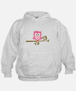 Pink Owl on a Branch Hoodie