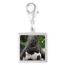 Elephant Soccer Silver Square Charm