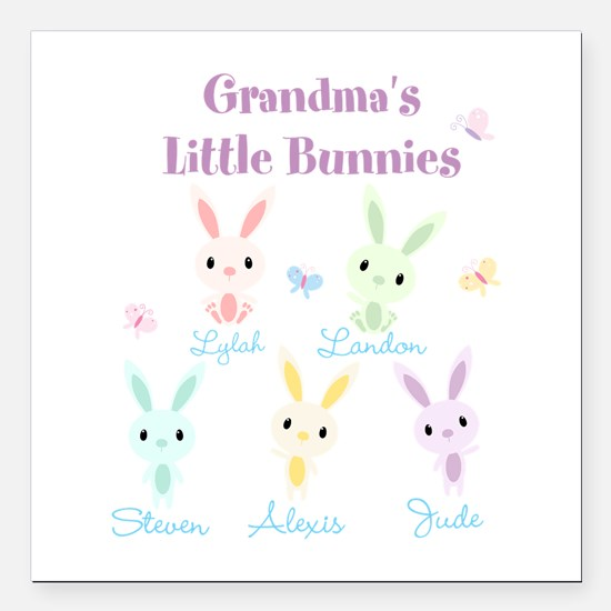 Grandmas little bunnies custom Square Car Magnet 3