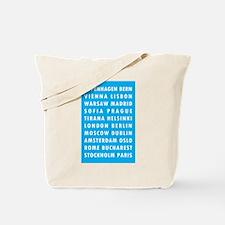 Lt Blue EU Cities Tote Bag