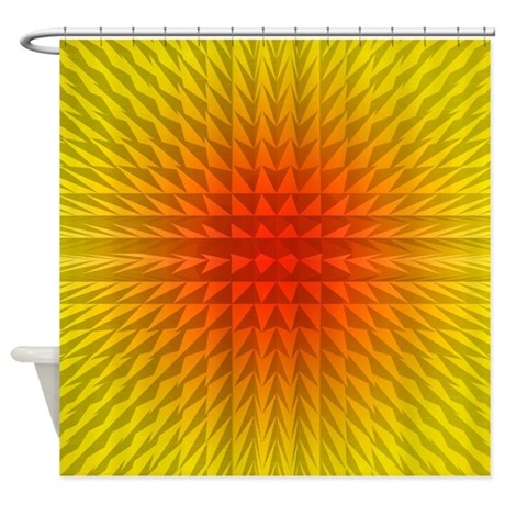 yellow and red blast shower curtain by poptopia1. Black Bedroom Furniture Sets. Home Design Ideas