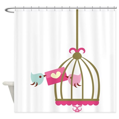 cute birds shower curtain by be inspired by life