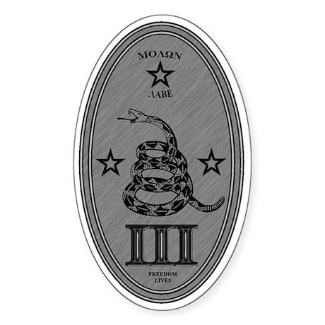 Molon Labe Vertical Silver Oval Sticker