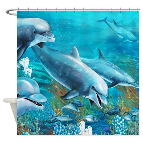 Beautiful Dolphin Painting Shower Curtain By