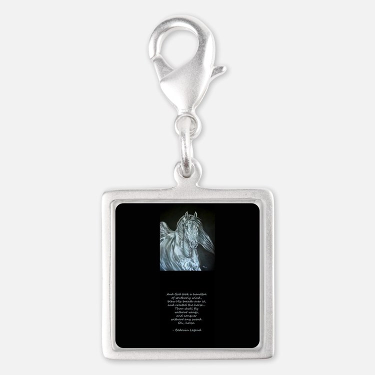 Legend of the Horse Silver Square Charm