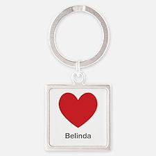 Belinda Big Heart Square Keychain