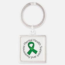 Mental Health Heart Ribbon Square Keychain