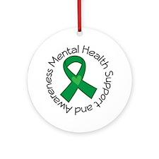 Mental Health Heart Ribbon Ornament (Round)