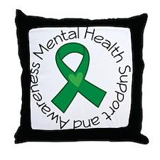 Mental Health Heart Ribbon Throw Pillow