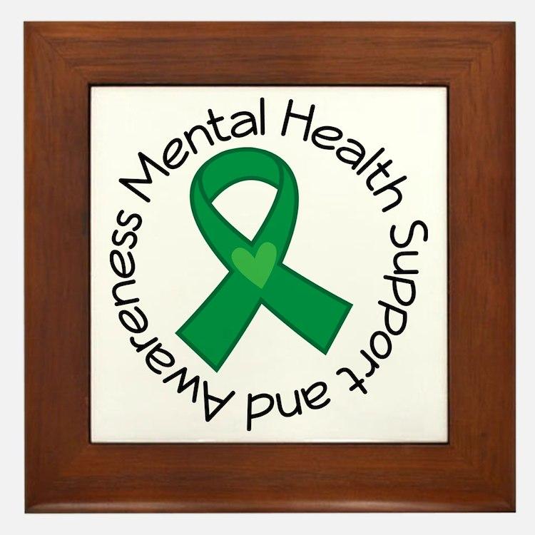 Mental Health Heart Ribbon Framed Tile