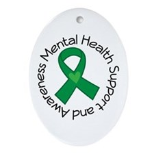 Mental Health Heart Ribbon Ornament (Oval)