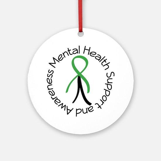 Mental Health Stick Figure Ornament (Round)