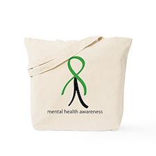 Mental Health Green Stick Man Tote Bag