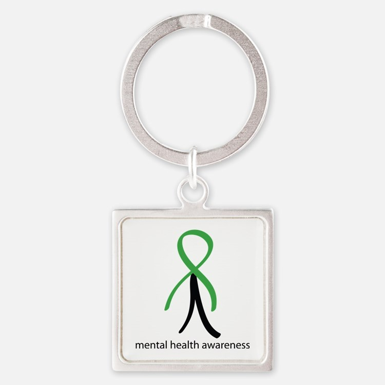 Mental Health Green Stick Man Square Keychain