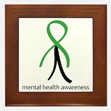 Mental Health Green Stick Man Framed Tile