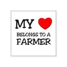 My Heart Belongs To A FARMER Rectangle Sticker