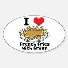 I Heart (Love) French Fries Oval Decal