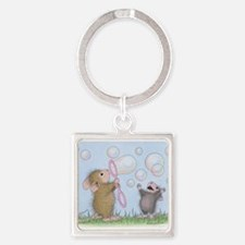 Bubble Blowing Buddies Square Keychain