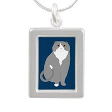 Scottish Fold Silver Portrait Necklace