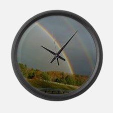 Double Rainbow Vermont Large Wall Clock