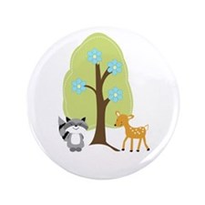 """Woodland Raccoon and Deer 3.5"""" Button"""
