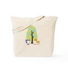 Woodland Raccoon and Deer Tote Bag