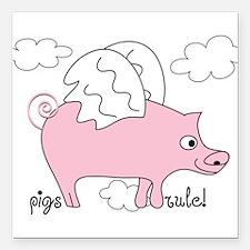 "Pigs Rule! Square Car Magnet 3"" x 3"""