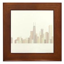 Modern Chicago Skyline Framed Tile