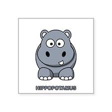Cartoon Hippopotamus Rectangle Sticker