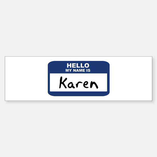 Hello: Karen Bumper Car Car Sticker