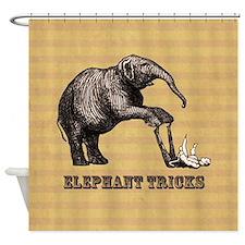 Vintage circus elephant doing tricks Shower Curtai