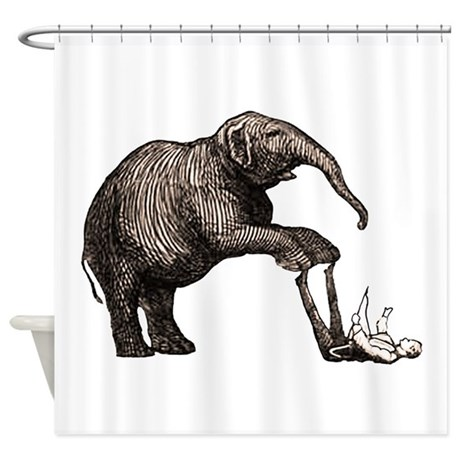 Vintage circus elephant Shower Curtain