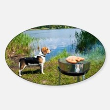 Grilling At Summer Weekend - Sticker (Oval)