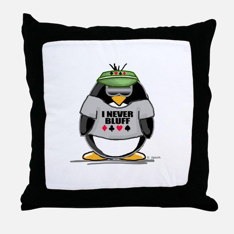 Poker Penguin Throw Pillow