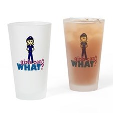 Police Woman Drinking Glass