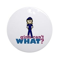 Police Woman Ornament (Round)