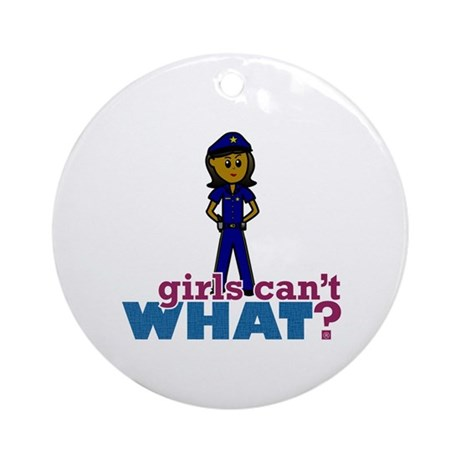 Woman Police Officer Ornament (Round)