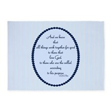 Romans 8 28 Bible Verse Blue 5'x7'Area Rug