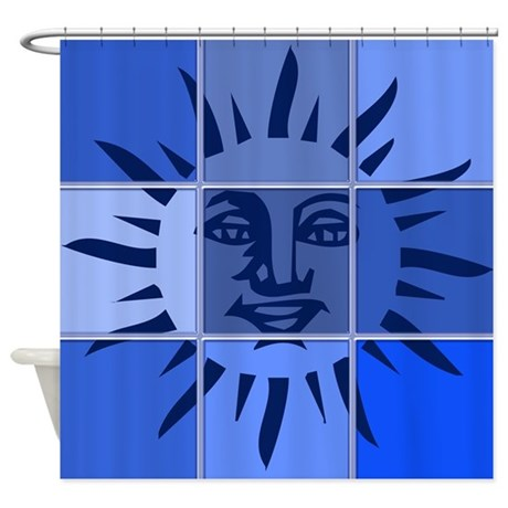 Blue Sun Shower Curtain by cheriverymery # Sunshower Blue_021322